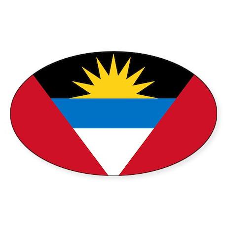 Antigua and Barbuda Sticker (Oval 10 pk)