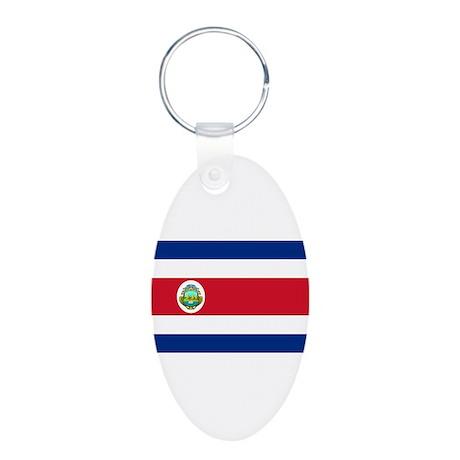 Costa Rica Aluminum Oval Keychain