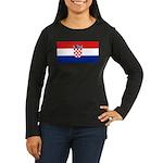Croatia Women's Long Sleeve Dark T-Shirt