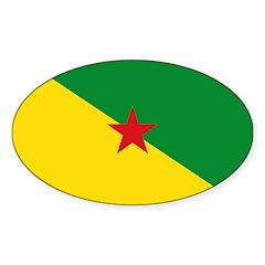 French Guiana Sticker (Oval 50 pk)