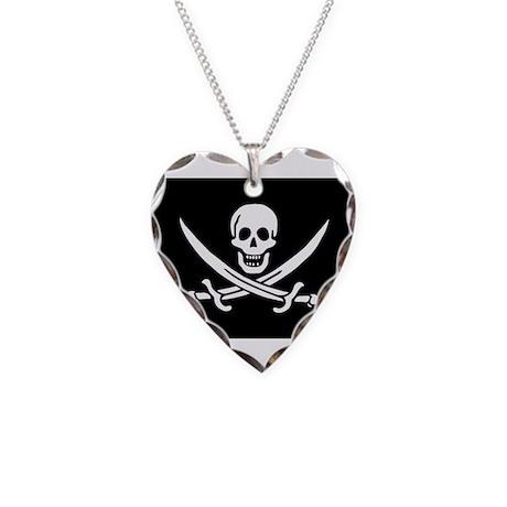 Calico Jack Rackham Jolly Rog Necklace Heart Charm