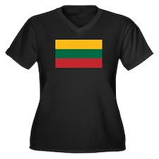 Lithuania Women's Plus Size V-Neck Dark T-Shirt