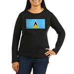 Saint Lucia Women's Long Sleeve Dark T-Shirt