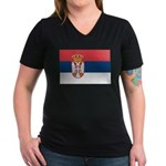 Serbia Women's V-Neck Dark T-Shirt