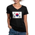 South Korea Women's V-Neck Dark T-Shirt