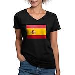 Spain Women's V-Neck Dark T-Shirt