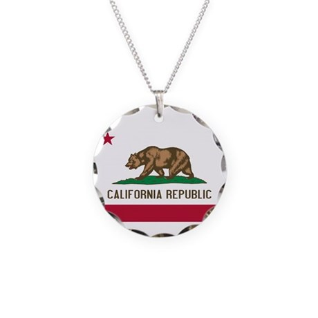 California Necklace Circle Charm