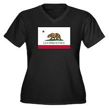 California Women's Plus Size V-Neck Dark T-Shirt