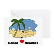 I Love Naked Beaches Greeting Cards (Pk of 20)