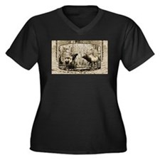 Bull elk face off Women's Plus Size V-Neck Dark T-