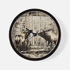 Bull elk face off Wall Clock