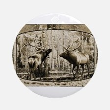 Bull elk face off Ornament (Round)