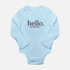 Hello I'm discreet Long Sleeve Infant Bodysuit