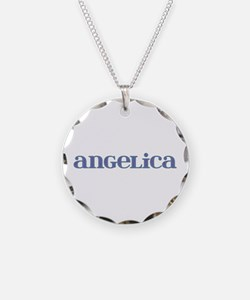 Angelica Carved Metal Necklace Circle Charm