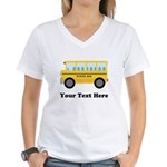 School Bus Personalized Women's V-Neck T-Shirt
