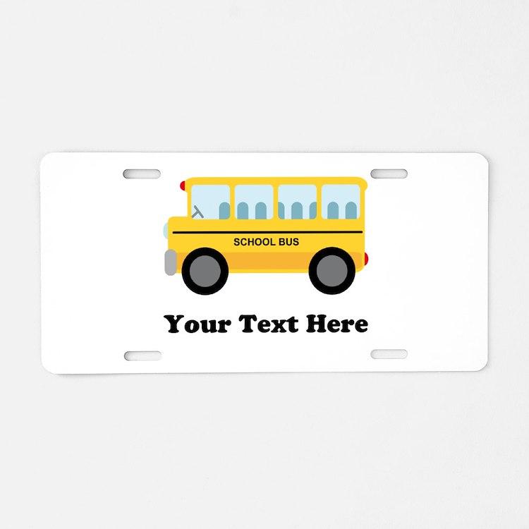 School Bus Personalized Aluminum License Plate