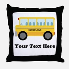 School Bus Personalized Throw Pillow