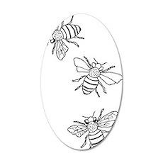 Honey Bees 22x14 Oval Wall Peel