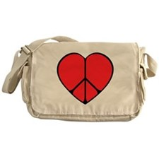Peace Sign Heart Messenger Bag