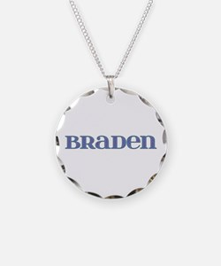 Braden Blue Glass Necklace Circle Charm