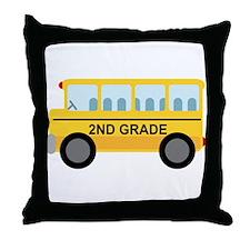 2nd Grade School Bus Throw Pillow