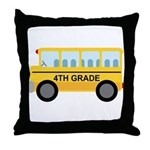 4th Grade School Bus Throw Pillow