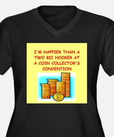 tacky coin collector Women's Plus Size V-Neck Dark
