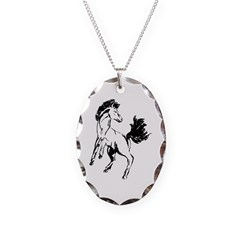 Mustang Necklace Oval Charm