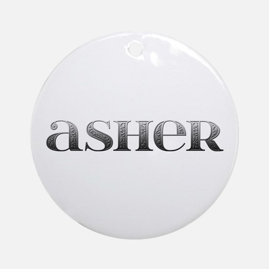 Asher Carved Metal Round Ornament