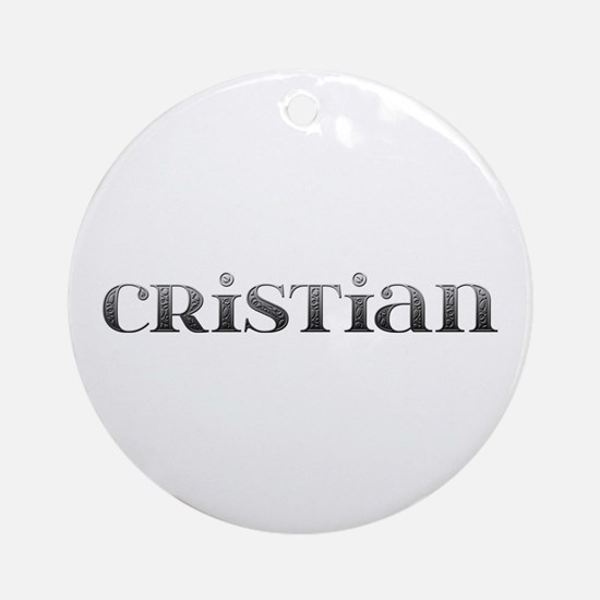 Cristian Carved Metal Round Ornament
