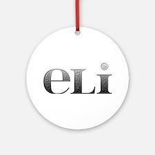 Eli Carved Metal Round Ornament