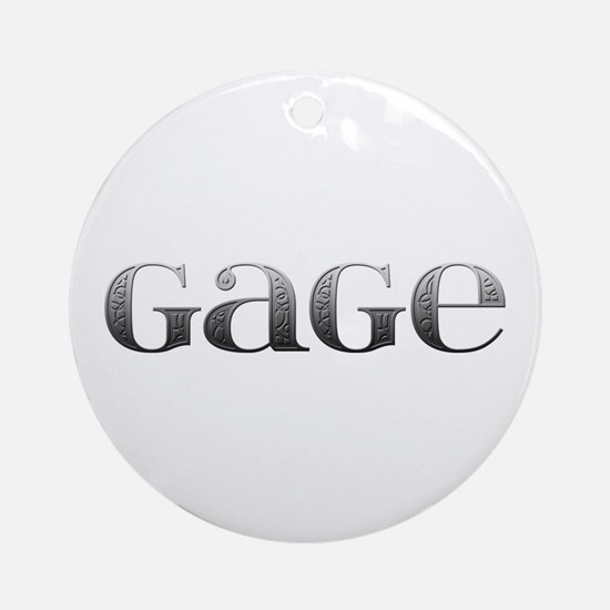 Gage Carved Metal Round Ornament