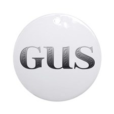 Gus Carved Metal Round Ornament