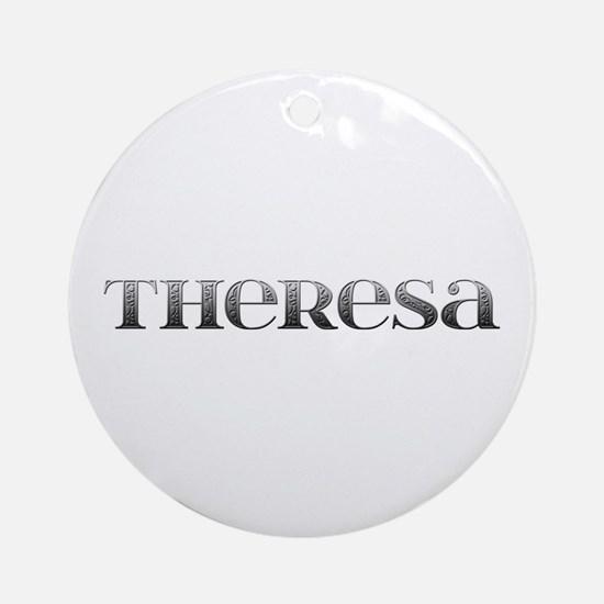 Theresa Carved Metal Round Ornament
