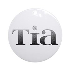 Tia Carved Metal Round Ornament
