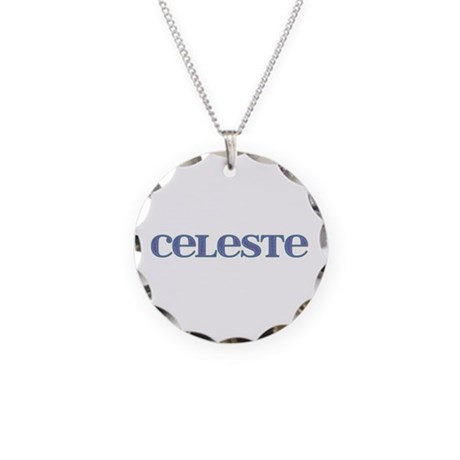 Celeste Blue Glass Necklace Circle Charm