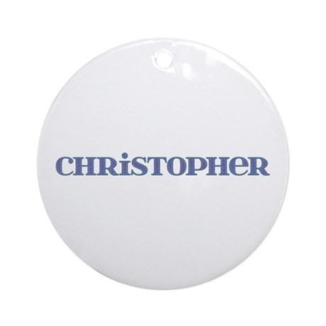 Christopher Blue Glass Round Ornament