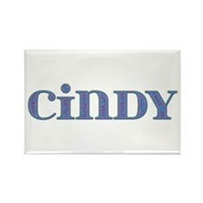Cindy Blue Glass Rectangle Magnet