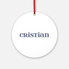 Cristian Blue Glass Round Ornament