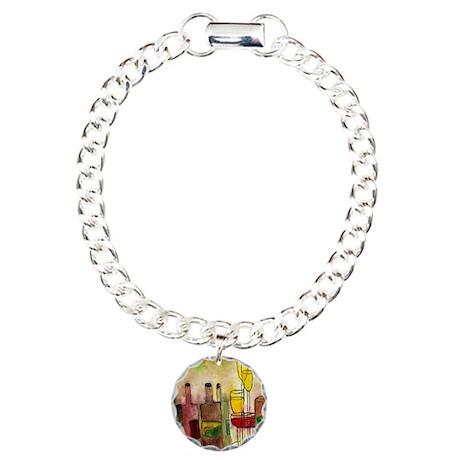 Wine cocktail Charm Bracelet, One Charm
