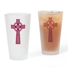 Pink Celtic Cross Drinking Glass
