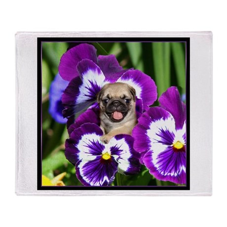 Pug in Pansies Throw Blanket