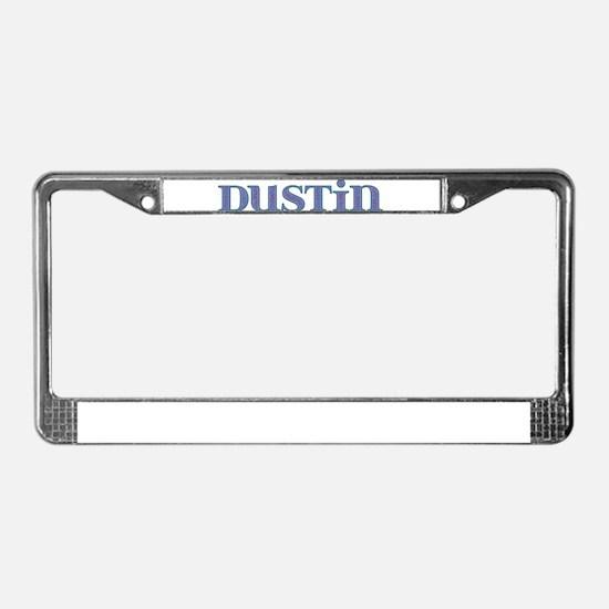 Dustin Blue Glass License Plate Frame