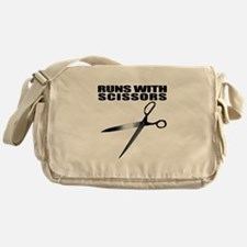 Runs with scissors. Funny Messenger Bag
