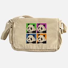 Panda Bear Squares Messenger Bag