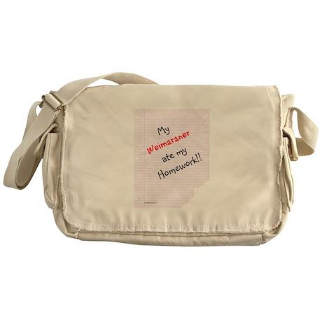 Weimaraner Homework Messenger Bag
