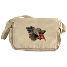 Weimaraner Flag Messenger Bag