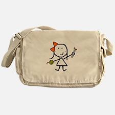 Girl & Knitting Messenger Bag