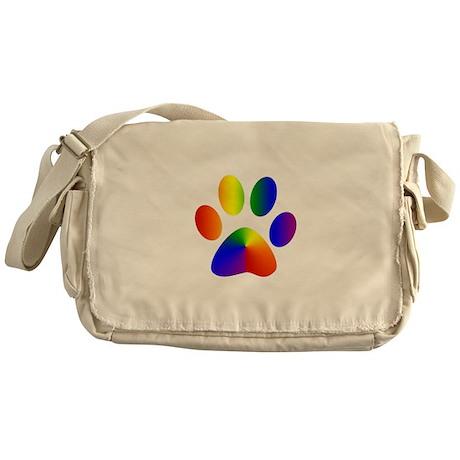 Rainbow Gay Pride Dog Paw Messenger Bag