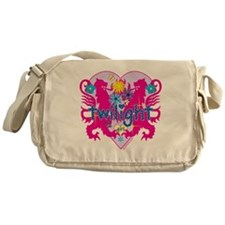 Twilight Girl Hearts and Flowers Messenger Bag